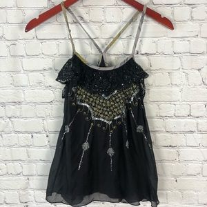 Free people silk embellished tank top 4